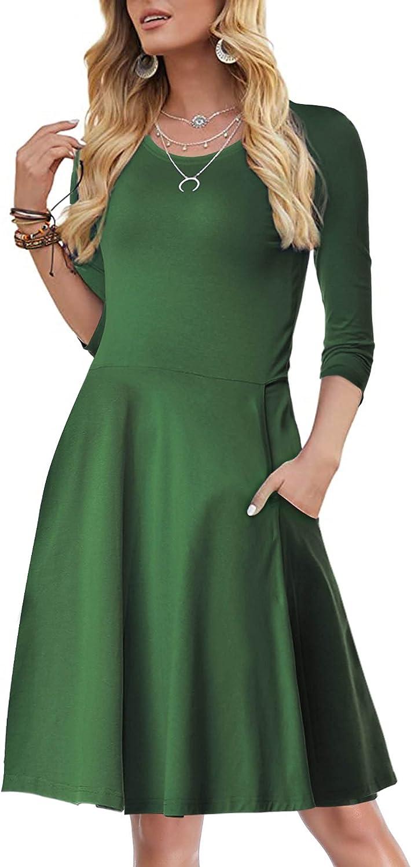 FENSACE Womens 3/4 Sleeves T Shirt Casual A-Line Cotton Midi Dress