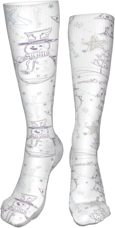 Fine Line Christmas Women Premium High Socks, Stocking High Leg Warmer Sockings Crew Sock For Daily And Work