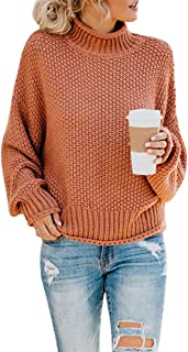 Pxmoda Womens Oversized Turtleneck Sweater Casual Batwing Long Sleeve Cable Knit Pullover Sweater Jumper.