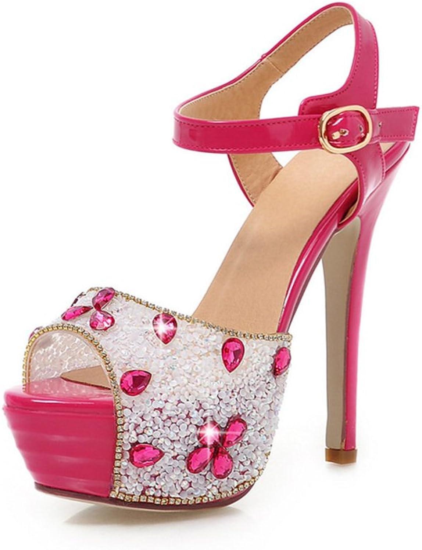 RHFDVGDS European wind super high heel Lady shoes night club sexy stiletto shoes rhinestone peep sandals in the summer platform wedding shoes