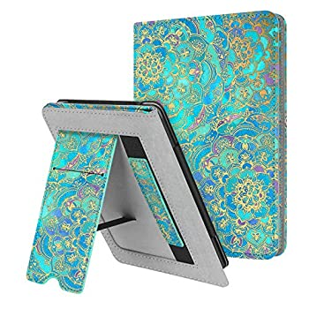 Fintie Stand Case for Kindle Paperwhite  Fits All-New 10th Generation 2018 / All Paperwhite Generations  - Premium PU Leather Protective Sleeve Cover with Card Slot and Hand Strap Shades of Blue