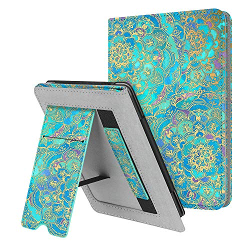 Fintie Stand Case for Kindle Paperwhite (Fits All-New 10th Generation 2018   All Paperwhite Generations) - Premium PU Leather Protective Sleeve Cover with Card Slot and Hand Strap, Shades of Blue
