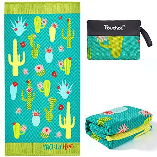 "Touchat Beach Towel Oversized,Thick Microfiber Beach Towel 30""x60"",Super Absorbent Sand Free Cute Cactus Cool Swim Beach Towels for Kids,Men,Women,Boys,Girls"