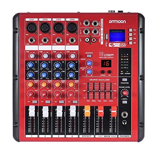 ammoon Mezclador de Audio Consola de Mezcla Bluetooth digital Línea de Micrófono 4 Canales EQ de 2 Bandas con 48V Phantom Power Interfaz USB para la Grabación de DJ Stage Karaoke Music Appreciation