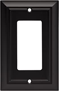 Architectural Single Decorator Wall Plate / Switch Plate / Cover, Flat Black