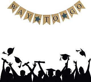 2021 Graduation Burlap Banner WAY TO GO Burlap Banner for Graduation Decoration for Graduation Ceremony Supplies (Black)