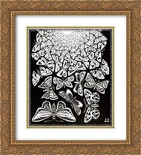 ArtDirect M.C. Escher 2X Matted 20x22 Gold Ornate Framed Art Print 'Butterflies'