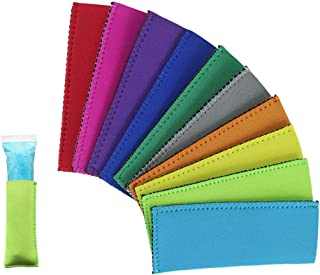 Creatrill 10 Pack Ice Pop Sleeves Popsicle Holders Bags, Neoprene Fabric, 10 Colors