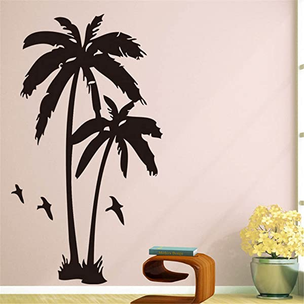 BIBITIME 2 Coconut Trees Wall Decal Black Vinyl Coco Palm Silhouette Birds Sticker For Living Room School Nursery Bedroom Kids Children Rooms Decor Home Art Murals