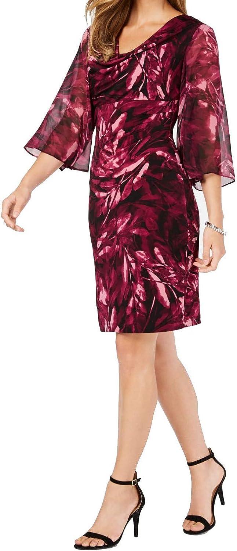 CONNECTED APPAREL Women's Printed Chiffon-sleeve Sheath Dress