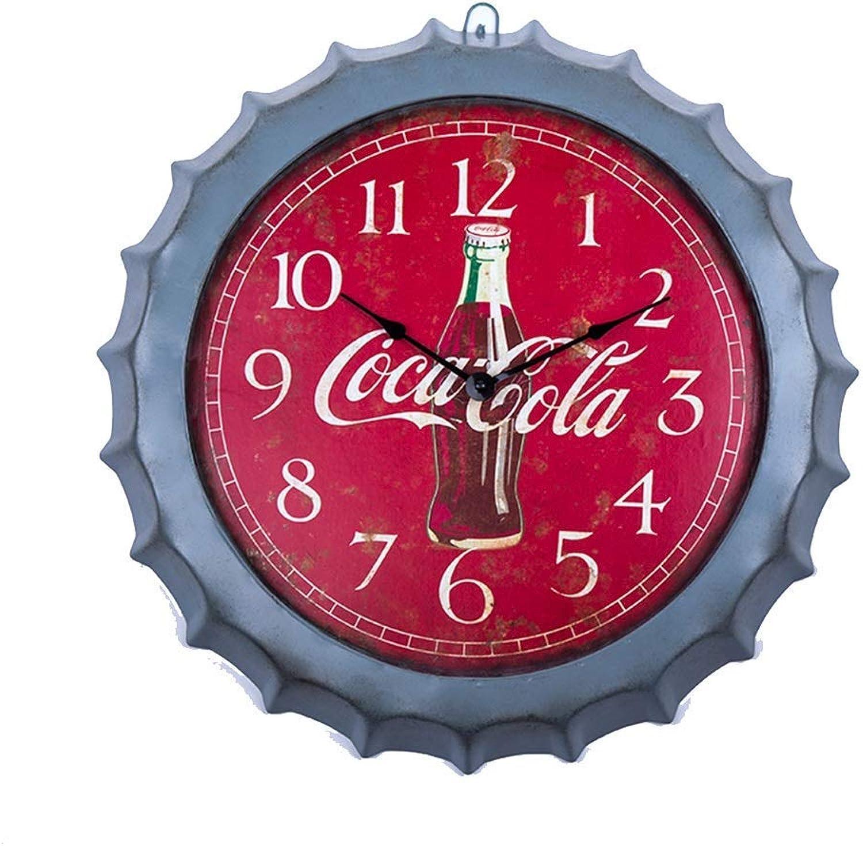 Yuany Estilo Retro Bar Restaurante Decoración del hogar Colgante Decoración Personalidad Creativo Cerveza rojoonda Cubierta Reloj de Parojo Digital A ++ (Color  Rojo)