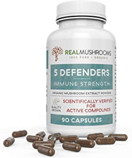 5 Defenders Organic Mushroom Extract Blend by Real Mushrooms - 90 Capsules - Chaga, Reishi, Shiitake, Maitake and Turkey Tail Mushroom Powder - Immune Defense