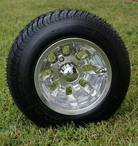 10' SILVER BULLET Polished Aluminum Golf Cart Wheels and 205/50-10 DOT Golf Cart Tires Combo - Set...