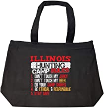 Funny Illinois Rules For Hunting Camp Bow Hunters That Love Beer - Fashion Zip Tote Bag