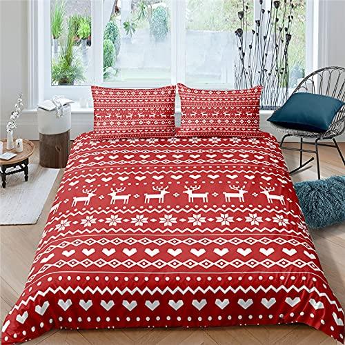 FBYYJK Christmas Quilt - Red Striped Duvet Cover Elk Pattern 3 PCS Pillowcase Kid Bedding Set Cute Home Textiles Christmas Print Duvet Cover Set 3 PCS,EU Double 210X210Cm