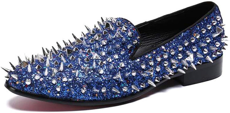 TAZAN Hommes Mocassins Rivet en Métal Penny Loafers,Mode Décontracté Conduite Bateau Chaussures Respirant d'affaires Ville Décontracté Souple Non-Slip Durable bleu argent 37-46,bleu,38