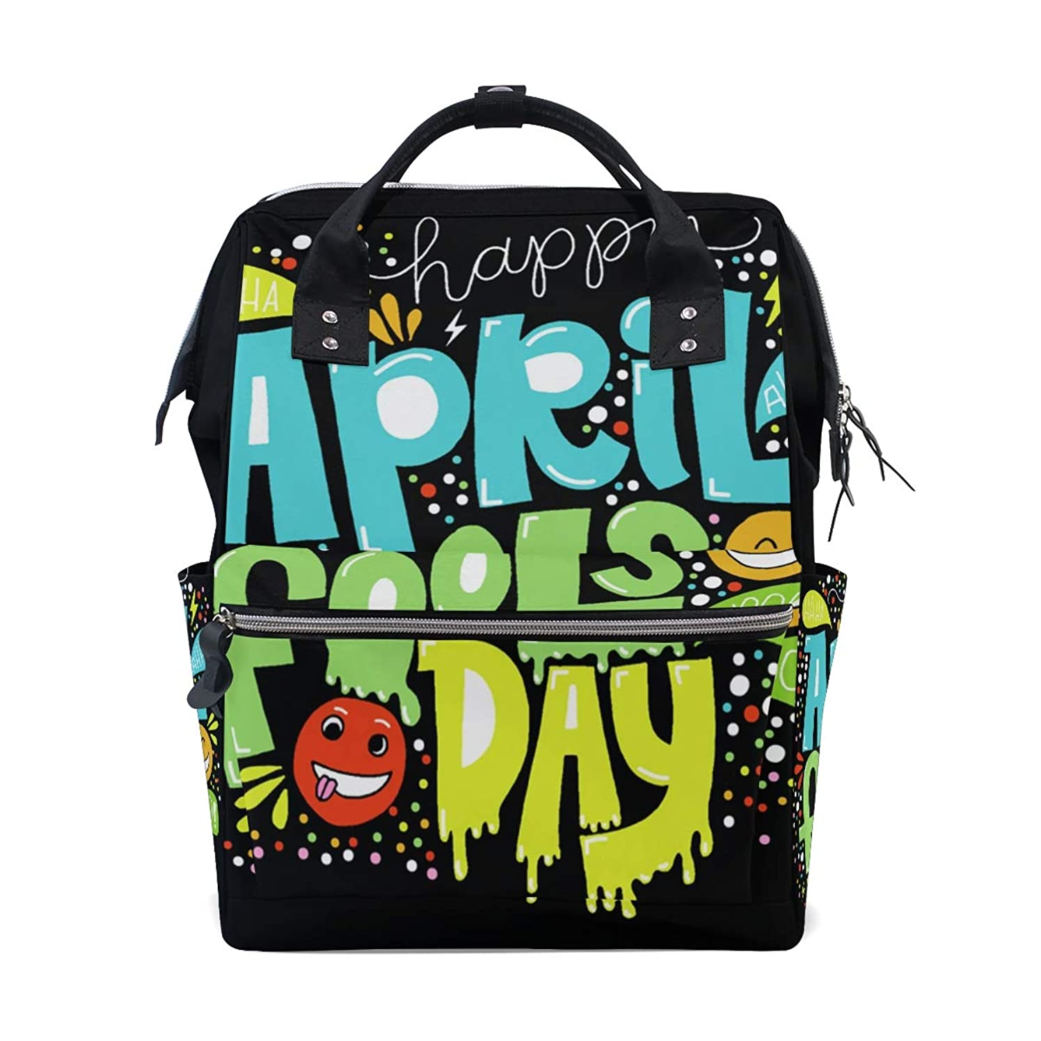 Happy April Fools Day School Backpack Large Capacity Mummy Bags Laptop Handbag Casual Travel Rucksack Satchel For Women Men Adult Teen Children