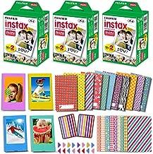 Fujifilm Instax Mini Film (3 Twin Packs, 60 Photo Sheets) for Fuji Instant Mini 11 9 8 Camera + 60 Colorful Sticker Frames + 5 Desk Frames + Accessories Bundle Kit