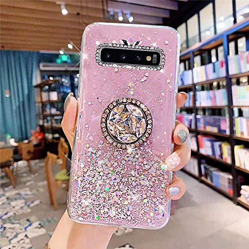 Coque pour Samsung Galaxy S10 Coque Transparent Glitter avec Support Bague,étoilé Bling Paillettes Motif Silicone Gel TPU Housse de Protection Ultra Mince Clair Souple Case pour Galaxy S10,Rose