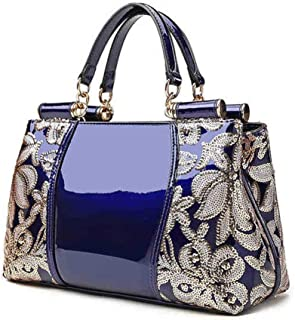Rjj Handbag/Men's Shoulder Bag/Leather Bag/Platinum Bag/Plastic Leather Business Bag Exquisite (Color : Blue)