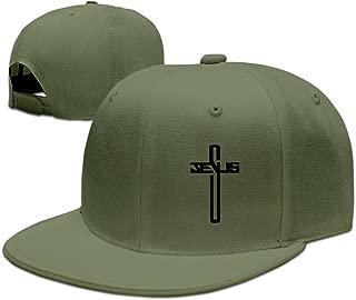 Casual Men Women Christian Jesus Cross Flat Ajustable Snapback Cap ForestGreen