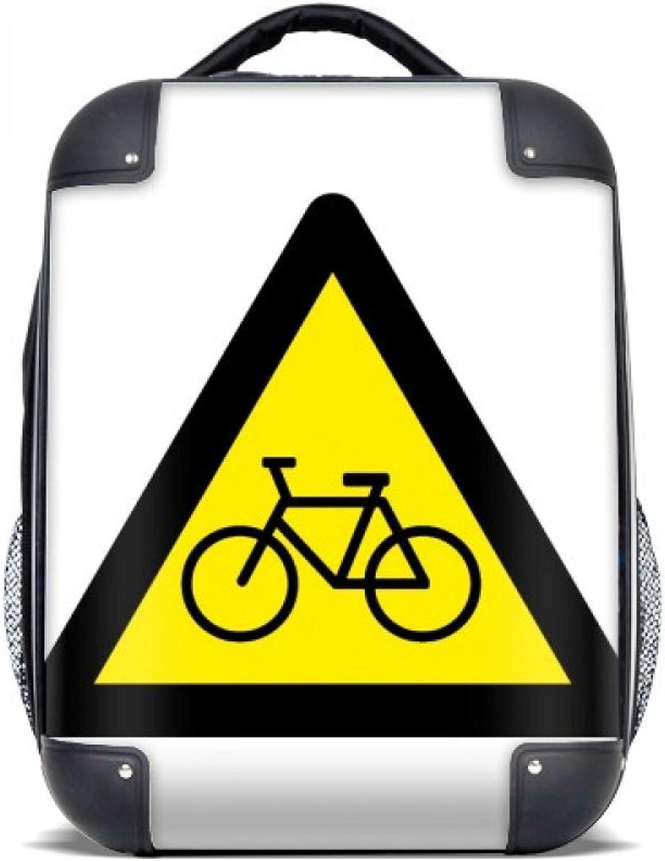 DIYthinker Warnsymbol Gelb-Schwarz-Fahrrad-Dreieck Hard Case Schulter Kinder Rucksack Geschenk 15