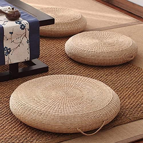 AMYZ Cojín de Asiento de futón,cojín de Suelo Tejido de Paja Natural para Exteriores,cojín de Suelo de Tatami Redondo para Sentarse,cojín de meditación Hecho a Mano,para Sala de Yoga A Diamete 60