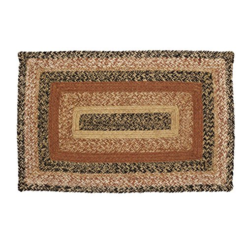 VHC Brands Kettle Grove Jute Rectangular Rug 20x30 Country Braided Flooring, Caramel Brown