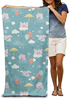 Cartoon Elephant with Pink Ear Adult Beach Towels Fast/Quick Dry Machine Washable Lightweight Absorbent Plush Multipurpose Use Quality Towels for Swim,Pool,Beach,Gym,Camping,Yoga