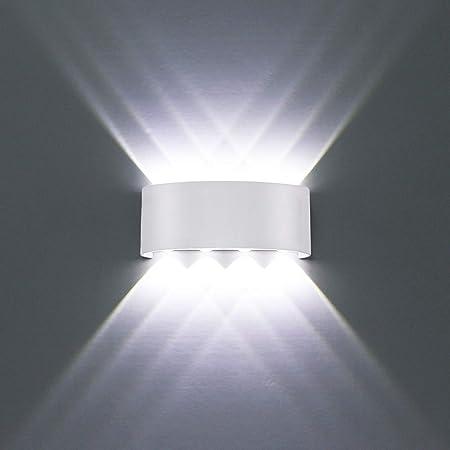 HYDONG Applique Murale LED Interieur, Moderne 8W Blanc Aluminium étanche Lampe Murale LED Interieur/Exterieur pour Chambre Maison Couloir Salon (Blanc Froid)