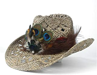 Sun Hat for men and women Women Straw Hollow Western Cowboy Hat Lady Handmade Peacock Feather Sombrero Hombre Beach Cowgirl Jazz Sun Hat