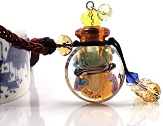 Coolrunner Crystal Aromatherapy Essential Oil Diffuser Necklace Glazed Glass Pendant Locket Jewelry Gift (Amber)