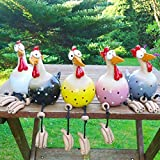 Rooster Garden Ornaments, 25cm / 10Inch Daze Rooster Resin Decoration, Outdoor Statue Accessories, Spring Summer Decoration for Home Garden Path Lawn (Blue)