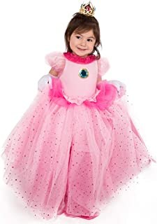 Children's Princess Peach Cosplay Costume with Crown