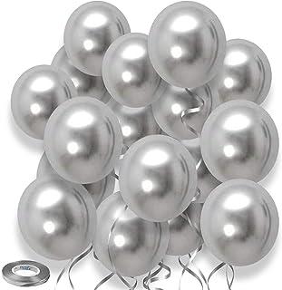 Silver Balloons Metallic Chrome Balloons,12inch 50pcs Silver Metallic Party Balloons Birthday Helium Balloons for Birthday...