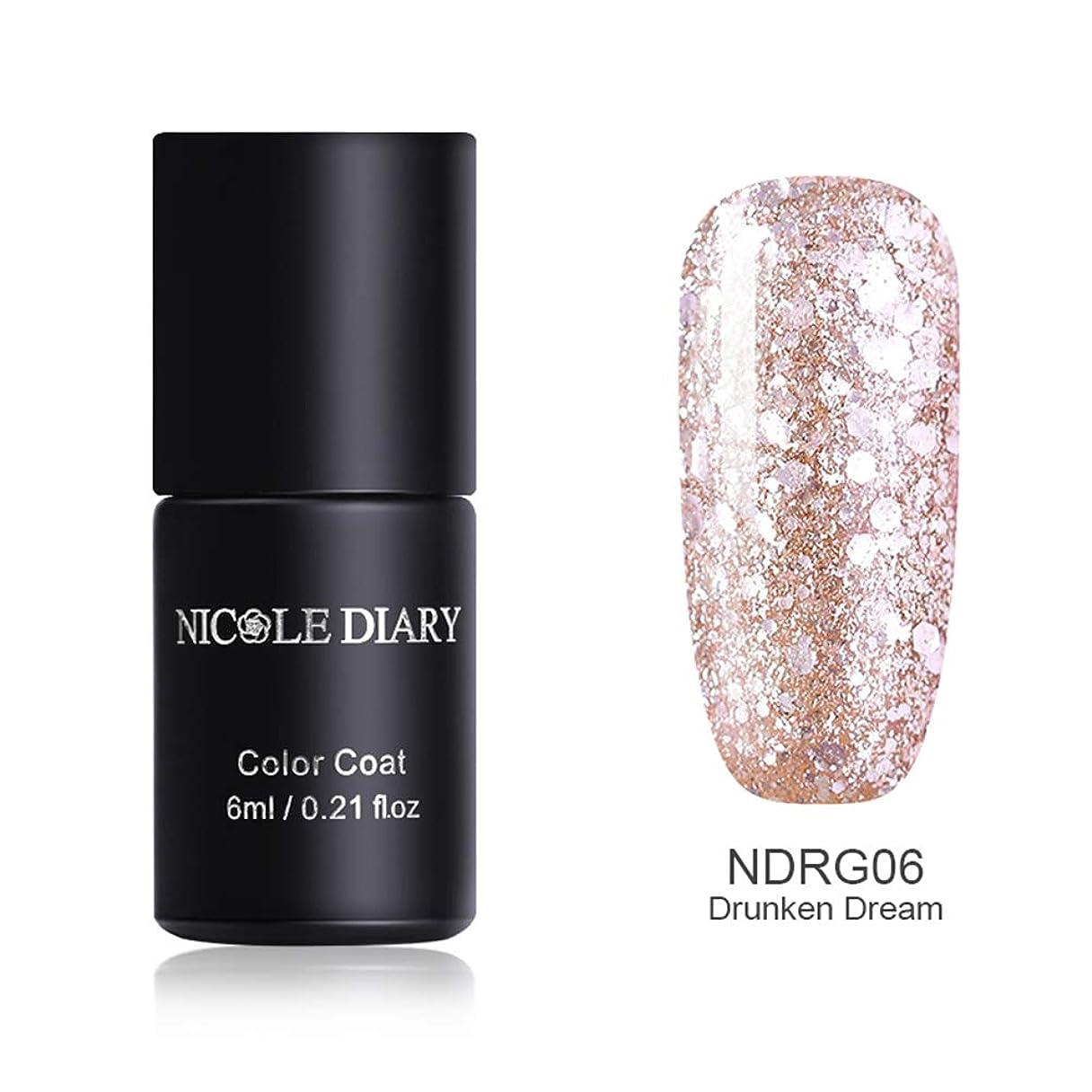 レシピ購入爆風NICOLE DIARY ピンクゴールドカラージェル 6ml UV/LED対応 6色 肌なじみ上品な王道ネイルカラー グリッター ラメ入り カラージェル ジェルネイル NDRG06 Drunken Dream [並行輸入品]