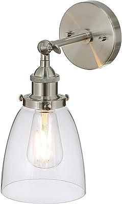 XiNBEi Aplique 1 luz Aplique de vidrio, aplique de pared en níquel cepillado para loft, cocina y pasillo XB-W160