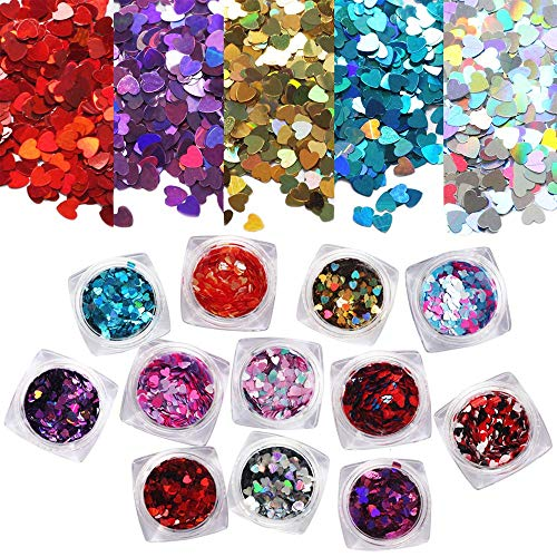 Ebanku 12 colori Paillettes per Unghie Glitter Cuori Flocons, Olografico Chunky Glitter Coriandoli per Nail Art pour la Décoration du Ongles, des Corps, des Cheveux