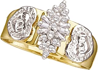 Diamond Heart Mom Ring Solid 10k Yellow Gold Mother Band Round & Baguette Cluster Style Polished 1/8 ctw