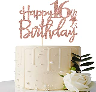 Rose Gold Glitter Happy 16th Birthday Cake Topper - 16 Cake Topper - 16th Birthday Party Supplies - 16th Birthday Party De...
