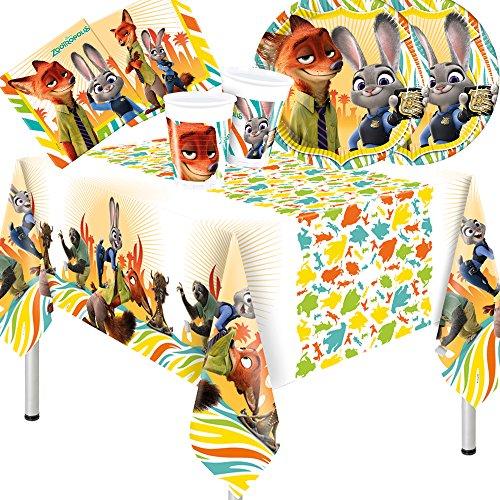 Procos Zoomania - 37-teiliges Party-Set Teller Becher Servietten Tischdecke mit Fuchs und Kaninchen für 8 Kinder