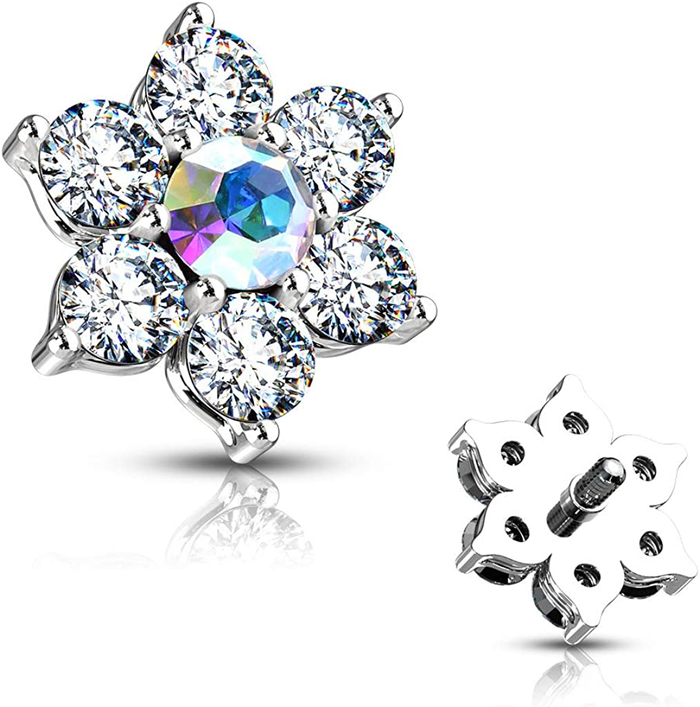 MoBody 14G Trust Clear CZ Flower Dermal Steel Anchor Inte Top Mesa Mall Surgical