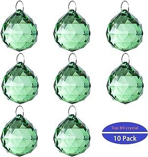 H&D 10pcs Crystal Glass Ball Chandelier Prisms Pendants Parts Rainbow Crystal Suncatcher DIY Parts (20mm,Green)