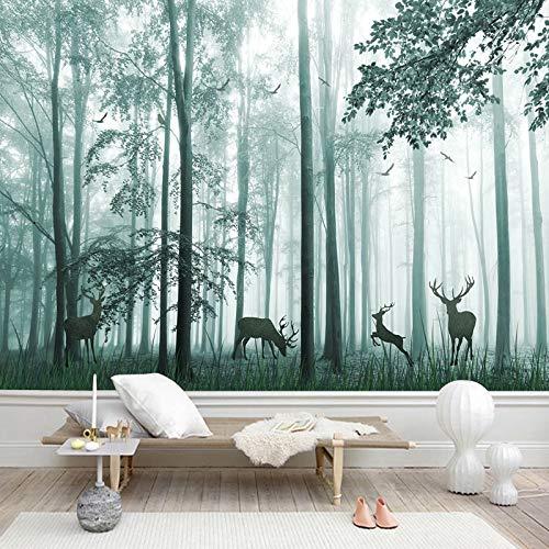 3D Wallpaper Wohnzimmer Schlafzimmer Benutzerdefinierte Wandtapete jeder Größe 3D Fantasy Holz Elch Wandmalerei Wohnzimmer TV Sofa Schlafzimmer Restaurant Wald Tapeten 3 D.