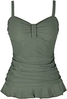 Women's 50's Retro Ruched Tankini Swimsuit Top with Ruffle Hem