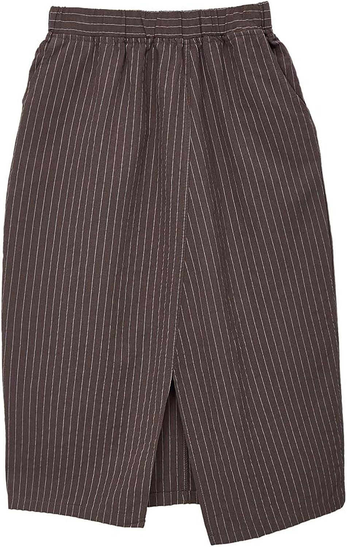 Amazhiyu Womens Midi Skirts Knee Length with Pockets Summer Elastic Waist Cotton Linen A Line Scrub Skirt