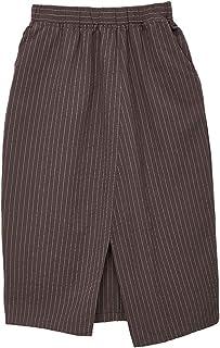 61ee226b65 Amazhiyu Womens Cotton Linen Stripe Midi Skirts with Pockets Elastic Waist  Slit Casual Long Pencil Skirt