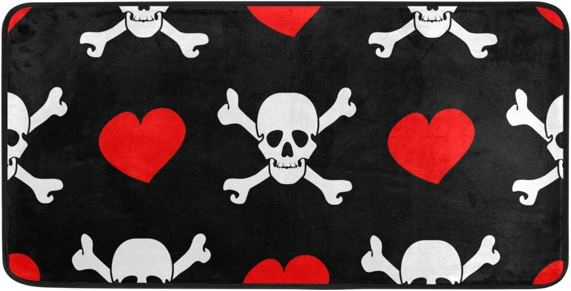 White Skulls and Red Hearts Ranking 5% OFF TOP17 Kitchen Standing Rug Mat 39x20in
