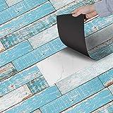 GVC Floors Stickers Simulation 3D Wood Waterproof Stickers 20x200cm Adhesive Tile Art Floor Wall...