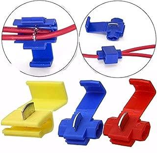 HonsCreat 125 Solderless Quick Splice Snap Wire Connector, 50 pcs red 22 through 18 Gauge,50 pcs blue 16 through 14 Gauge,25 pcs yellow 12 through 10 Gauge